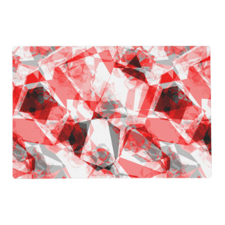 Red, White & Gray Geometric Polygon Shapes Laminated Place Mat