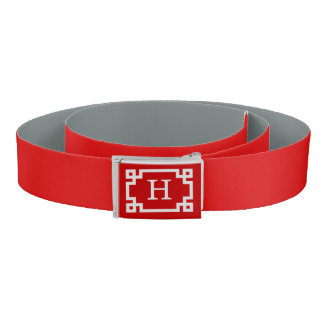 Red White Greek Key #2 Frame Initial Monogram Belt