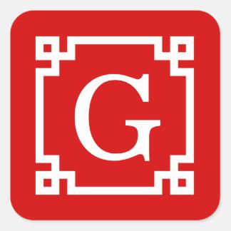 Red White Greek Key Frame #2 Initial Monogram Square Sticker