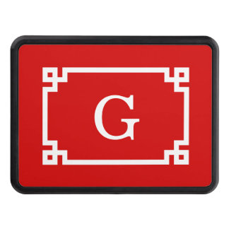 Red White Greek Key Frame #2 Initial Monogram Tow Hitch Cover