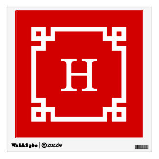 Red White Greek Key Frame #2 Initial Monogram Wall Decal