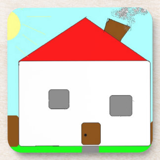 Red White Green Blue House Drawing, Art By Kids :) Beverage Coaster