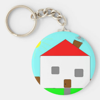 Red White Green Blue House Drawing, Art By Kids :) Keychain