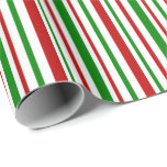 [ Thumbnail: Red, White, Green Christmas Inspired Lines Wrapping Paper ]