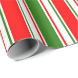 [ Thumbnail: Red, White, Green Christmas Inspired Pattern Wrapping Paper ]