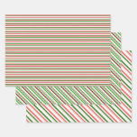 [ Thumbnail: Red, White, Green Christmas Inspired Patterns Wrapping Paper Sheets ]