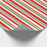 [ Thumbnail: Red, White, Green Christmas-Inspired Stripes Wrapping Paper ]
