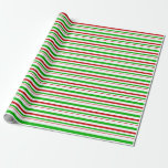 [ Thumbnail: Red, White, Green Christmas Inspired Stripes Wrapping Paper ]
