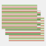 [ Thumbnail: Red, White, Green Christmas-Inspired Stripes Wrapping Paper Sheets ]