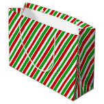 [ Thumbnail: Red, White & Green Christmas Stripes Gift Bag ]