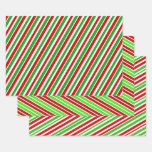 [ Thumbnail: Red, White & Green Christmas Stripes Pattern Wrapping Paper Sheets ]