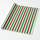 [ Thumbnail: Red, White, Green Christmas Style Lined Pattern Wrapping Paper ]
