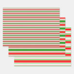 [ Thumbnail: Red, White, Green Christmas-Style Lined Patterns Wrapping Paper Sheets ]