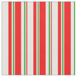 [ Thumbnail: Red, White, Green Christmas Style Lines Fabric ]