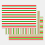 [ Thumbnail: Red, White, Green Christmas-Style Striped Patterns Wrapping Paper Sheets ]