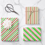 [ Thumbnail: Red, White, Green Christmas Style Striped Patterns Wrapping Paper Sheets ]