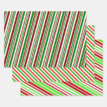 [ Thumbnail: Red, White, Green Christmas-Style Stripes Pattern Wrapping Paper Sheets ]