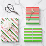 [ Thumbnail: Red, White, Green Christmas Style Stripes Patterns Wrapping Paper Sheets ]