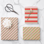 [ Thumbnail: Red, White, Green Christmas-Style Stripes Patterns Wrapping Paper Sheets ]
