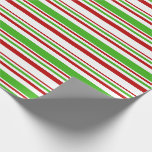 [ Thumbnail: Red, White, Green Christmas-Style Stripes Wrapping Paper ]