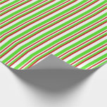[ Thumbnail: Red, White, Green Christmas-Themed Lined Pattern Wrapping Paper ]