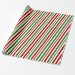 [ Thumbnail: Red, White, Green Christmas Themed Lines Pattern Wrapping Paper ]