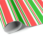 [ Thumbnail: Red, White, Green Christmas-Themed Lines Pattern Wrapping Paper ]