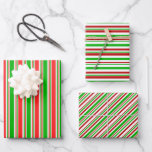 [ Thumbnail: Red, White, Green Christmas-Themed Lines Patterns Wrapping Paper Sheets ]