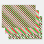 [ Thumbnail: Red, White & Green Christmas-Themed Lines/Stripes Wrapping Paper Sheets ]