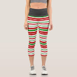 [ Thumbnail: Red, White, Green Christmas-Themed Stripes Leggings ]