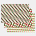 [ Thumbnail: Red, White & Green Christmas-Themed Stripes/Lines Wrapping Paper Sheets ]