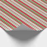 [ Thumbnail: Red, White, Green Christmas-Themed Stripes Wrapping Paper ]
