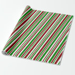 [ Thumbnail: Red, White & Green Christmas-Themed Stripes Wrapping Paper ]