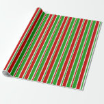 [ Thumbnail: Red, White, Green Christmas Themed Stripes Wrapping Paper ]