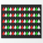 [ Thumbnail: Red, White, Green Christmas Tree Icons Pattern Wrapping Paper ]