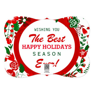 Red White & Green Christmas Wreath Photo Frame Card