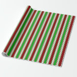 [ Thumbnail: Red, White, Green Colored Christmas-Inspired Wrapping Paper ]