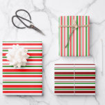 [ Thumbnail: Red, White, Green Colored Christmas-Inspired Wrapping Paper Sheets ]
