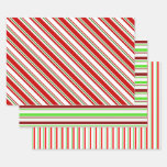[ Thumbnail: Red, White, Green Colored Christmas Inspired Wrapping Paper Sheets ]