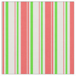 [ Thumbnail: Red, White, Green Colored Christmas-Style Lines Fabric ]