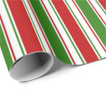 [ Thumbnail: Red, White, Green Colored Christmas Style Lines Wrapping Paper ]