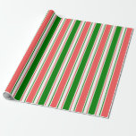 [ Thumbnail: Red, White, Green Colored Christmas-Style Lines Wrapping Paper ]