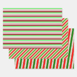 [ Thumbnail: Red, White, Green Colored Christmas Style Lines Wrapping Paper Sheets ]