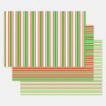 [ Thumbnail: Red, White, Green Colored Christmas Style Patterns Wrapping Paper Sheets ]