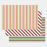 [ Thumbnail: Red, White, Green Colored Christmas-Style Patterns Wrapping Paper Sheets ]