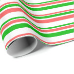 [ Thumbnail: Red, White, Green Colored Christmas-Style Stripes Wrapping Paper ]