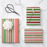 [ Thumbnail: Red, White, Green Colored Christmas-Style Stripes Wrapping Paper Sheets ]