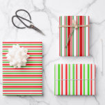 [ Thumbnail: Red, White, Green Colored Christmas Style Stripes Wrapping Paper Sheets ]
