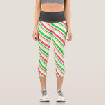 [ Thumbnail: Red, White, Green Colored Christmas Themed Lines Leggings ]