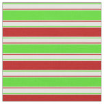 [ Thumbnail: Red, White, Green Colored Christmas Themed Lines Fabric ]